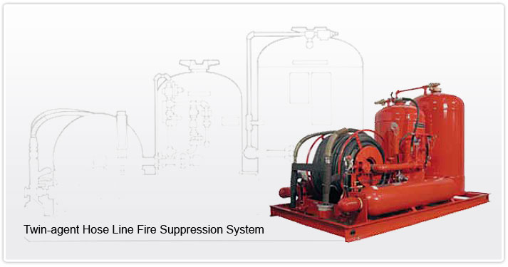 Twin-agent Hose Line Fire Suppression Systems